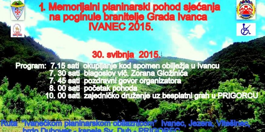 1. planinarski pohod sjećanja na poginule branitelje grada Ivanca