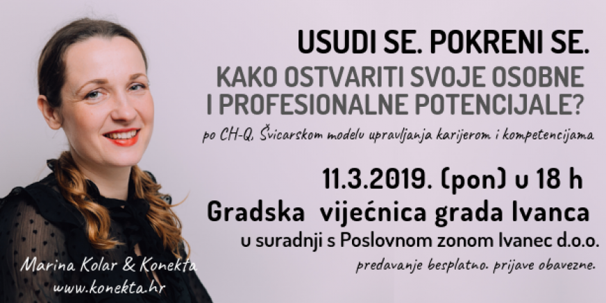 11. ožujka u Ivancu predavanje Marine Kolar: Kako ostvariti svoje osobne i profesionalne potencijale?